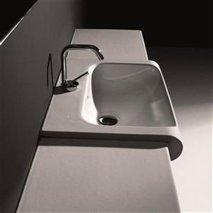 WS Bath Collections Kerasan 23.6-in x 15.7-in White Rectangular Bathroom Sink