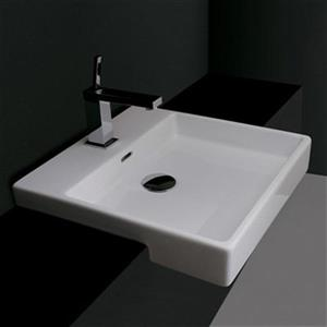 WS Bath Collections 17.7-in x 17.7-in White Ceramica Valdama Semi-Recessed Square Bathroom Sink
