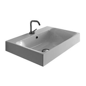 WS Bath Collections Kerasan 27.6-in x 17.7-in White Rectangular Bathroom Sink