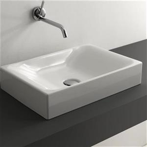 WS Bath Collections Kerasan 19.7-in x 13.8-in White Rectangular Bathroom Sink