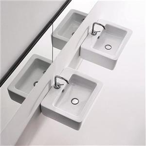 WS Bath Collections Kerasan 19.7-in x 15.7-in White Rectangular Bathroom Sink