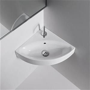 WS Bath Collections Kerasan 17.0-in x 17.7-in White Bathroom Sink