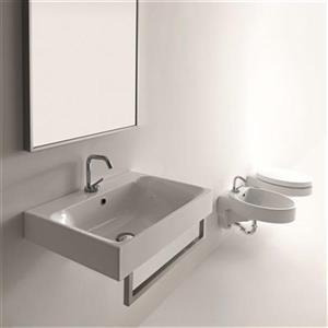 WS Bath Collections Kerasan 23.6-in x 17.7-in White Rectangular Bathroom Sink