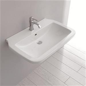 WS Bath Collections 23.6-in x 19.7-in White Ceramica Valdama Rectangular Bathroom Sink