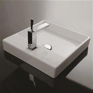WS Bath Collections 17.7-in x 17.7-in White Ceramica Valdama Square Bathroom Sink