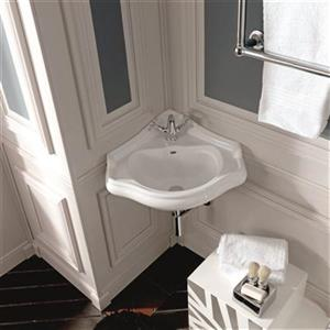WS Bath Collections Kerasan Corner 17.9-in x 16.1-in White Bathroom Sink