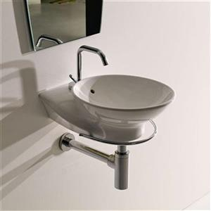 WS Bath Collections Kerasan 16.9-in x 11.8-in White Wall Hung Round Bathroom Sink
