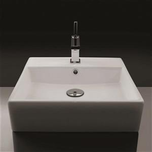 WS Bath Collections 18.3-in x 18.3-in White Ceramica Valdama Rectangular Bathroom Sink
