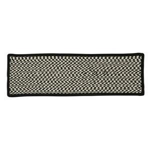 Colonial Mills Outdoor Houndstooth Tweed 8-in x 28-in Black Stair Tread Mat - 13/pack