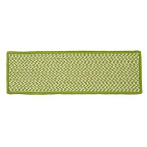 Colonial Mills Outdoor Houndstooth Tweed 8-in x 28-in Lime Stair Tread Mat - 13/pack