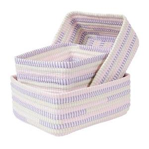 Colonial Mills 8-in x 14-in Multicoloured Ticking Stripe Nesting Basket Set