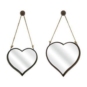 IMAX Worldwide Heart Shape Wall Decorative Mirrors (Set of 2)