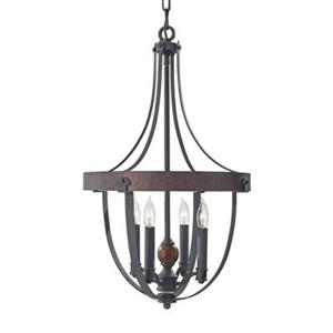 Feiss Alston Collection 16-in x 25.62-in Antique Forged Iron 4-Light Foyer Pendant Light