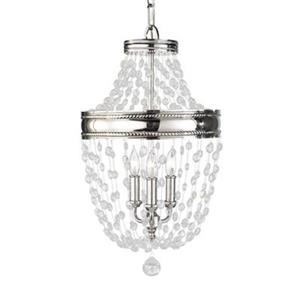 Feiss Malia Collection 12.38-in x 22.25-in Polished Nickel 3-Light Foyer Pendant Light