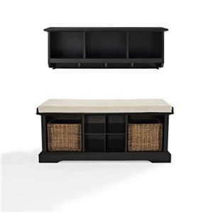 Crosley Furniture Brennan 2-Piece Black Entryway Bench And Shelf Set