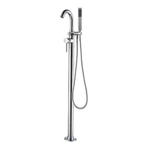 ALFI Brand 6.38-in Polished Chrome Single  Lever Floor Mounted Tub Filler Mixer with Hand Held Shower Head