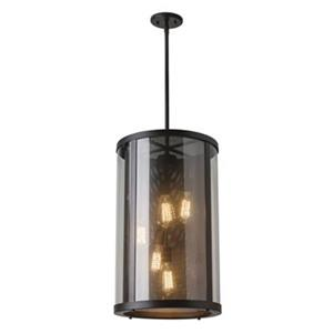 Feiss Bluffton Collection 15-in x 24.75-in Oil-Rubbed Bronze Cylinder 5-Light Pendant Light