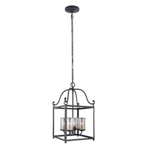 Feiss Declaration Collection 14.62-in x 25.75-in Antique Forged Iron Cage 4-Light Foyer Light