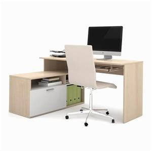 Bestar Modula 30.10-in x 59.50-in Northern Maple L-Shaped Workstation