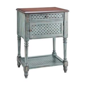 Stein World Hartford 15.75-in x 22-in x 31.5-in Distressed Moonstone Antique Blue/Wood Tone Accent Table