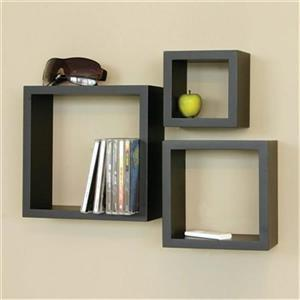 Nexxt Designs Cubbi Black Wall Shelves (Set of 3)