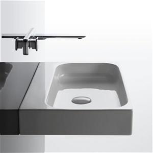WS Bath Collections Ceramic 23.81-in x 15.94-in White Wall Mount/Vessel Rectangular Bathroom Sink