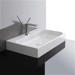 WS Bath Collections Ceramic 23.81-in x 15.94-in White Rectangular Wall Mount/Vessel Bathroom Sink