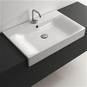 WS Bath Collections Kerasam Ceramic 27.6-in x 17.7-in white Semi-Recessed Bathroom Sink