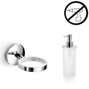 WS Bath Collections Spritz 6.90-in Polished Chrome Glue Self-Adhesive Single Holder