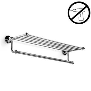 WS Bath Collections Venessia Glue 25.90-in Polished Chrome Self-Adhesive Towel Rack With Hanging Towel Rail