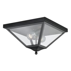 Cascadia Nottingham 2-Light Black Outdoor Flush Mount Ceiling Light