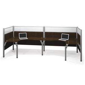 Bestar Pro-Biz 55.50-in x 146-in Chocolate Brown Double Back to Back L-Desk Workstation