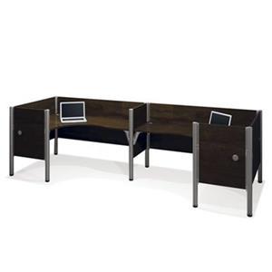 Bestar Pro-Biz 43-in x 146-in Chocolate Brown Double Back to Back L-Desk Workstation