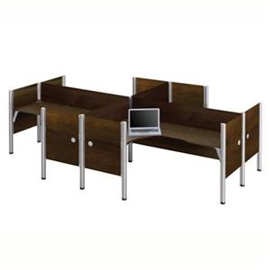 Bestar Pro-Biz 43-in x 100.10-in Chocolate Brown Four L-Desk Workstation