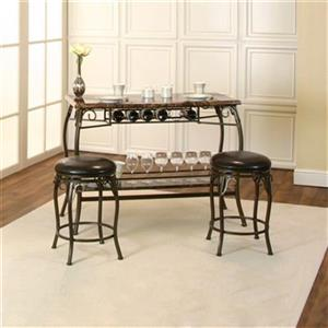 Sunset Trading Tiffany Bar With Built-In Wine Rack and Stools   Bronze Metal/Brown Faux Marble Top