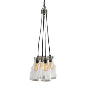 IMAX Worldwide 12-in x 9-in Clear Cormack Glass Bottle Cluster Pendant Light