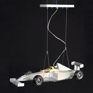 Design Living 9.8-in x 17.8-in Silver Race Car Kids Ceiling Light