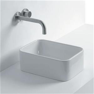 WS Bath Collections Normal 13.8-in x 9.40-in Ceramic White Vessel Bathroom Sink