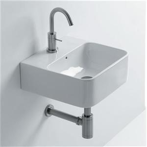 WS Bath Collections 13.8-in x 13.8-in Ceramic White Wall Mounted Bathroom Sink
