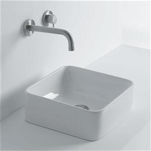 WS Bath Collections 13.80-in x 13.80-in Ceramic White Vessel Bathroom Sink