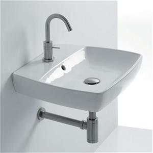 WS Bath Collections 23.6-in x 16.9-in White Wall Mounted Bathroom Sink