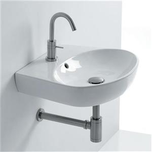WS Bath Collections 16.9-in x 15.7-in Ceramic Wall Mounted Bathroom Sink