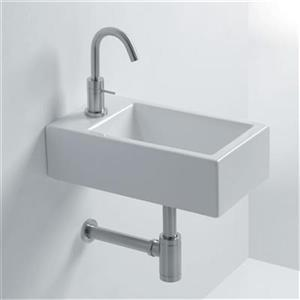 WS Bath Collections Whitestone 17.7-in x 9.80-in Ceramic White Wall Mounted Bathroom Sink