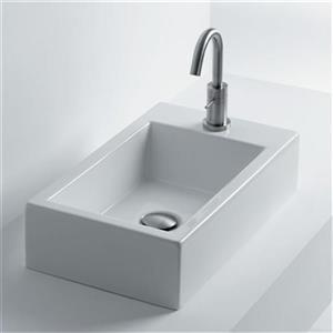 WS Bath Collections Whitestone 19.70-in x 11.8-in Ceramic White Vessel Bathroom Sink