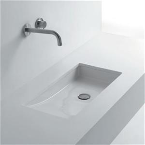 WS Bath Collections Whitestone 26.8-in x 14.6-in Rectangle Undermount Bathroom Sink