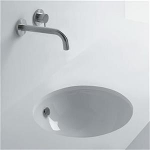 WS Bath Collections Whitestone 18.10-in x 18.10-in White Ceramic Round Undermount Bathroom Sink