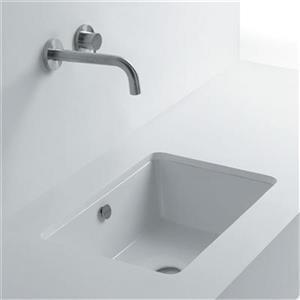 WS Bath Collections Whitestone 19.70-in x 16-in White Ceramic Rectangular Undermount Bathroom Sink