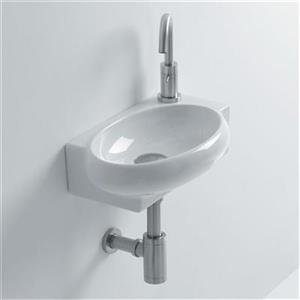 WS Bath Collections Whitestone 16.60-in x 10.60-in White Ceramic Oval Wall Mounted Bathroom Sink