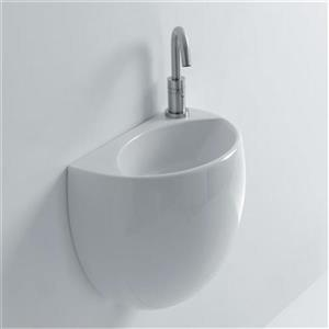 WS Bath Collections Whitestone 15.70-in x 12-in White Ceramic Semi-Circle Wall Mounted Bathroom Sink