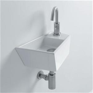 WS Bath Collections Whitestone 15.70-in x 9.80-in White Ceramic Irregular Wall Mounted Bathroom Sink